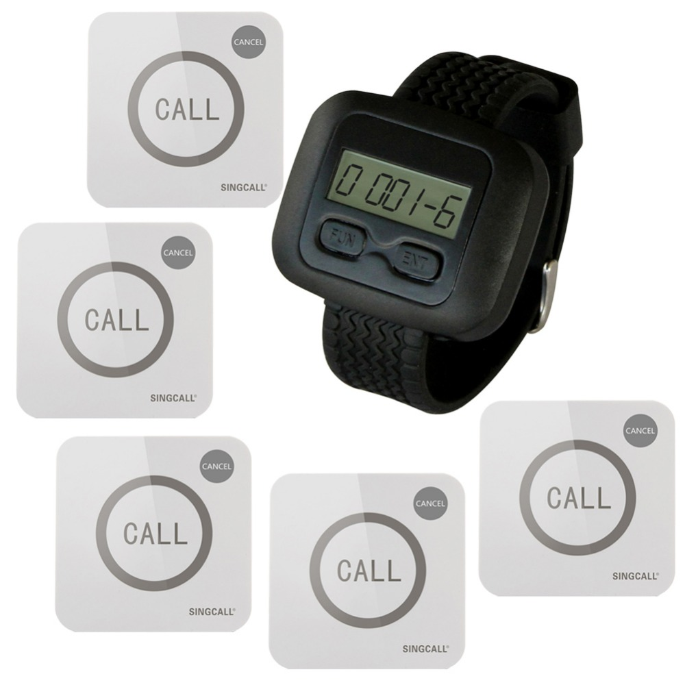 SINGCALL Wireless Nursing Calling System for Hospital,wireless call button, 1 WatchReceiver and 5 Touchable Buttons wireless service call bell system popular in restaurant ce passed 433 92mhz full equipment watch pager 1 watch 7 call button