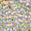 100pcs Oval Withe AB Falt Back 3d Nail Art Decorations Glitter Rhinestones Nails Accessories Supplies Manicure