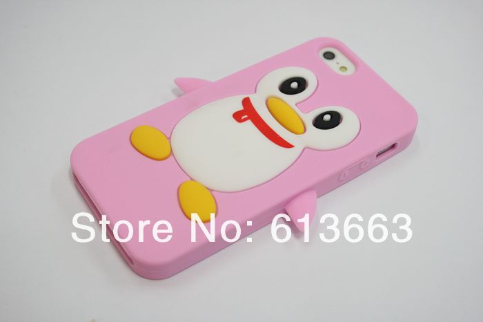 hot sale 1pcs/lot penguins Soft Silicon Back Cover Cell phone Case for iphone 4/4s