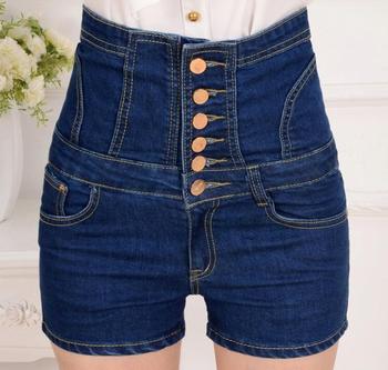 2020 summer brand Fashion casual high waist female ladies girls slim elastic buttons plus size denim jeans shorts clothing