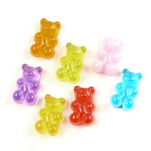 LF 50Pcs 17x11mm Mixed Resin Bear Decoration Crafts Flatback Cabochon Kawaii DIY Embellishments For Scrapbooking Accessories