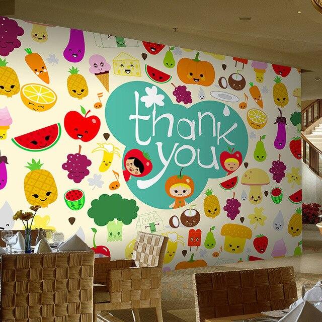 Envío gratis gran mural de dibujos animados de verduras cocina ...