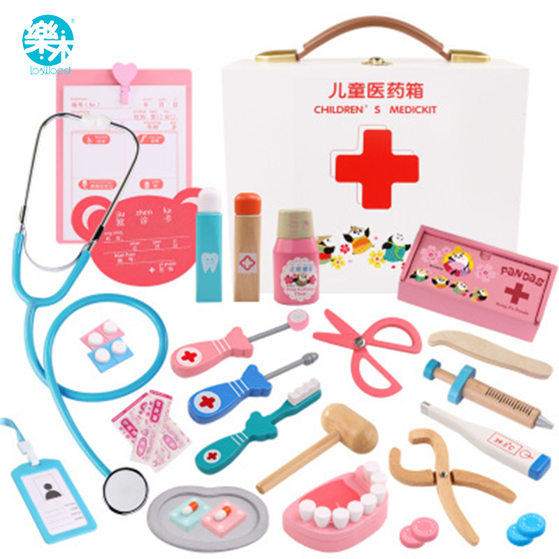 Logwood Wooden toys Funny play Real Life Cosplay Doctor game toy Dentist Medicine Box Doctor Play 24PCS Set For Children aimy child toy doctor box set doctor play set toy with sound and lightsm138o