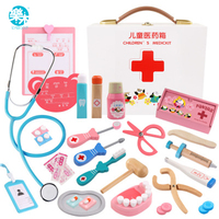 Logwood Wooden toys Funny play Real Life Cosplay Doctor game toy Dentist Medicine Box Doctor Play 24PCS Set For Children