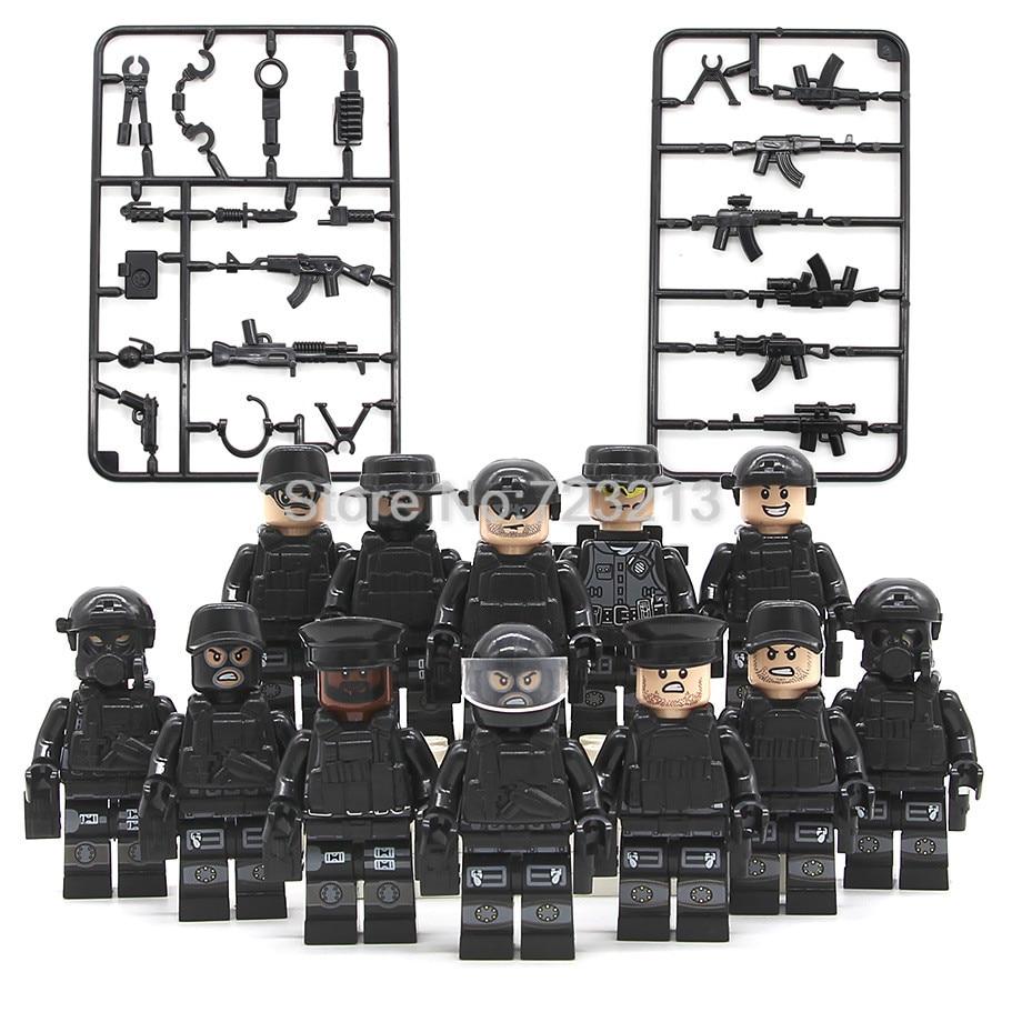 где купить 12pcs/set Legoingly Military SWAT Teams Figure Set City Police Weapon Model Building Blocks kits Brick Toys for Children JY1620 по лучшей цене