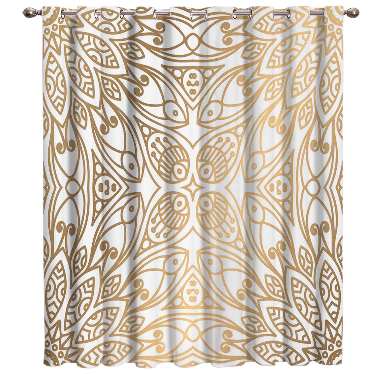 Gold Moroccan Pattern Damask Ethnic Window Treatments Curtains