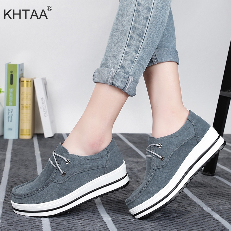 Casual Women's Flat Platform Autumn Shoes Plus Size Lace Up Female Genuine Leather Footwear Fashion Shallow Ladies Moccansins female loafers new lace mother flat shoes fashion shallow mouth ladies peas shoes tendon casual women leather shoes plus size
