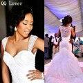 QQ Amante Sexy Amor Blanco Sirena Vestidos de Novia 2017 Tren de la Corte Africana Pura Volver Apliques Con Cuentas vestido de Novia