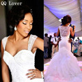 QQ Lover Sexy African White Sweetheart Mermaid Wedding Dresses 2017 Court Train Sheer Back Applique Beaded Bridal Gown