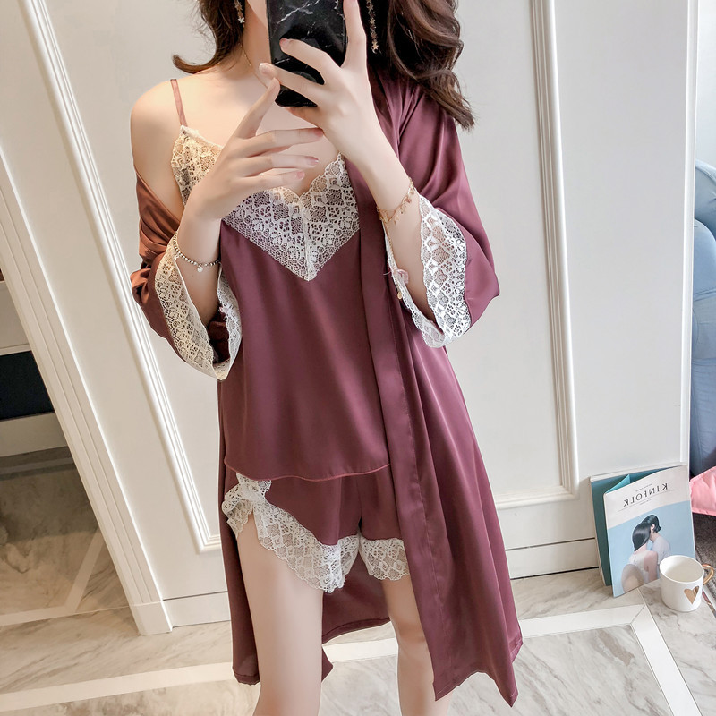 Lisacmvpnel Autumn New Pattern 3 Pcs Sexy Lace Sexy Women Pajamas Nightdress+Shorts+Cardigan Set Fashion Sleepwear