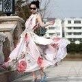 Venta caliente de Bohemia Del Verano de Long Beach de La Gasa Del Volante Vestido de Maxi vestido de festa envío gratis