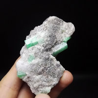 94g NATURAL Stones and Minerals Rock Emerald green symbiosis with quartz crystal gem stone ore sample collection ZML3