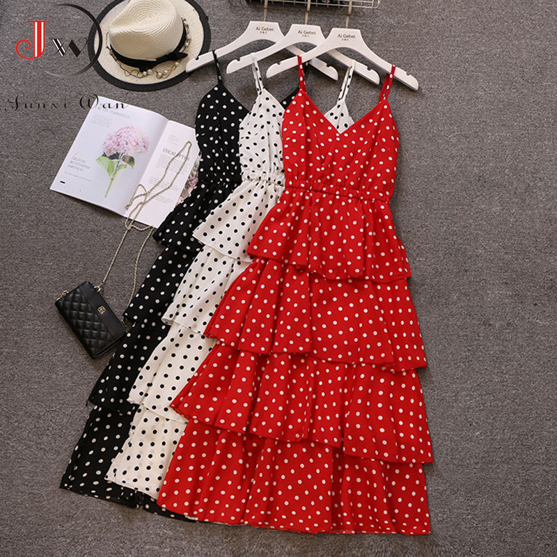Summer Women Long Dress Fashion V-neck Sexy Spaghetti Strap Polka Dot Dress New 2019 Beach Maxi Dress Black White Red Party