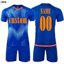 ZMSM Personalized ink printing Soccer Jerseys Set Survetement Football Kit Men Training Uniform Short Sportswear Mb8602