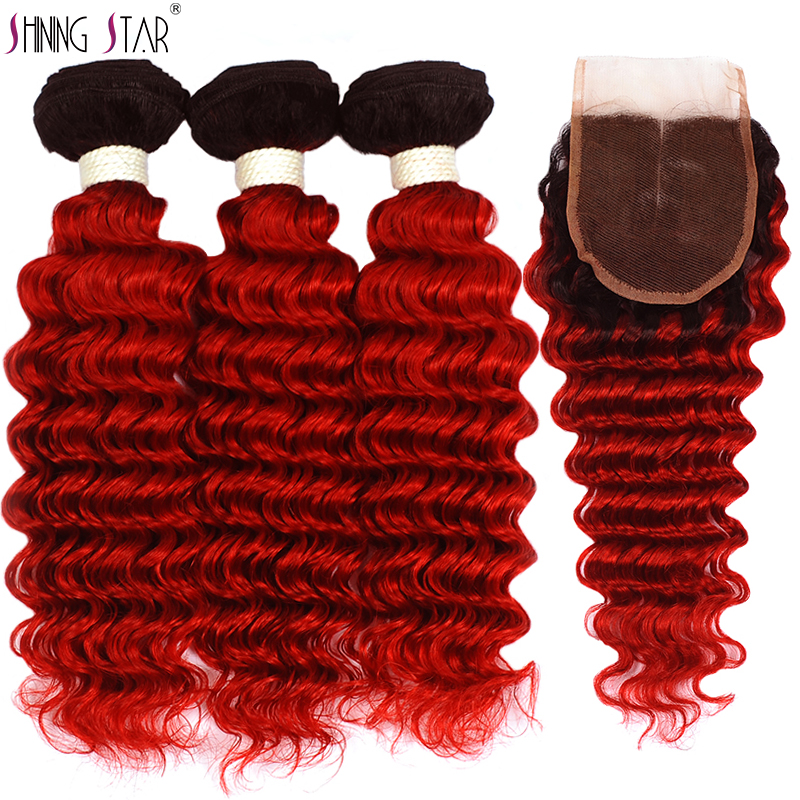 Colored 1B Red Deep Wave 3 Bundles With Closure Ombre Peruvian Human Hair Weave Bundles With Closure Non Remy Weft Shining Star