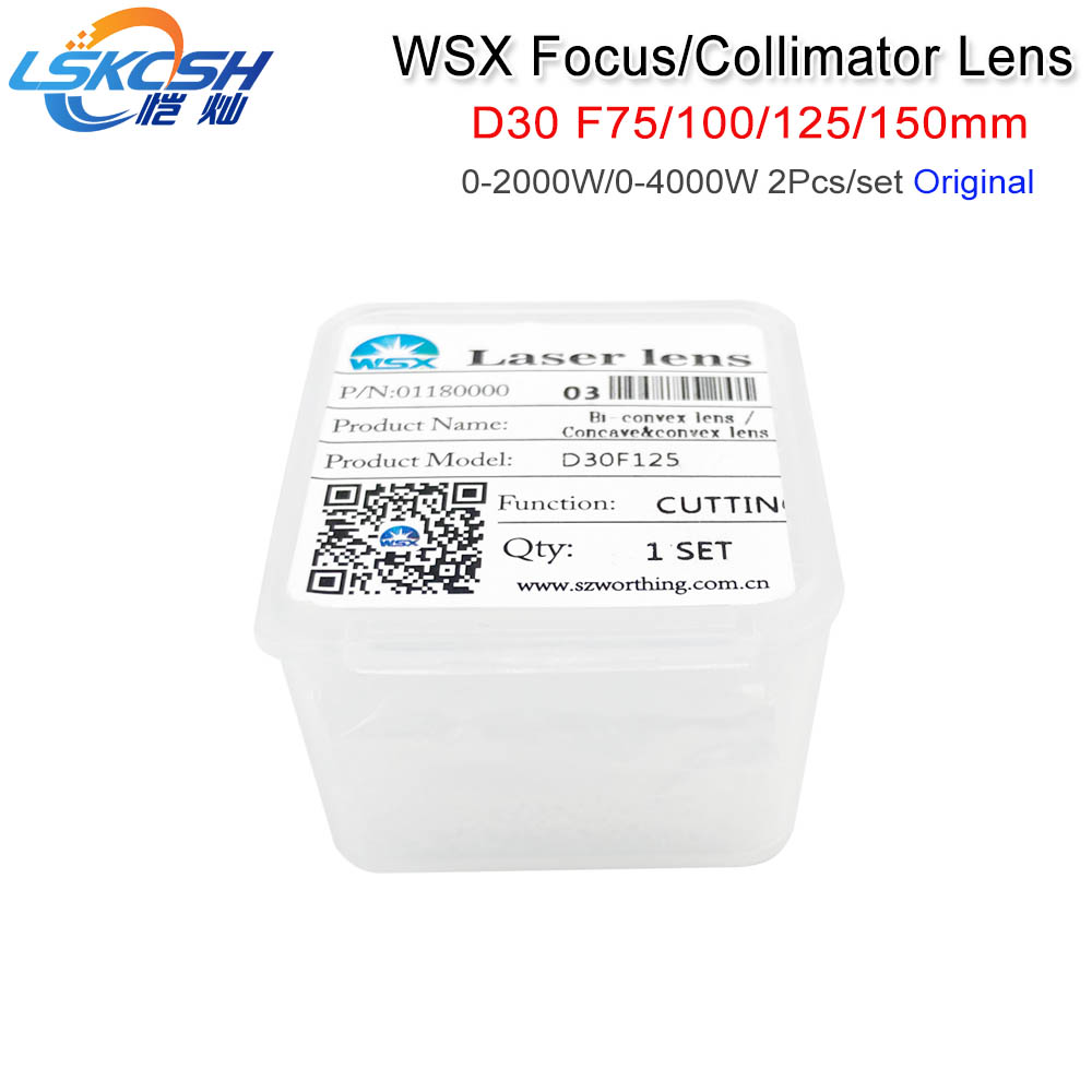LSKCSH Original Collimating Lens/Focus Lens WSX Fiber Head D30 F75/100/125/150mm 2Pcs/Set quartz fused silica 1064nm HSG Laser 2pcs 150mm big optical pmma plastic round solar condensing compound eye fresnel lens improving brightness of light focal length