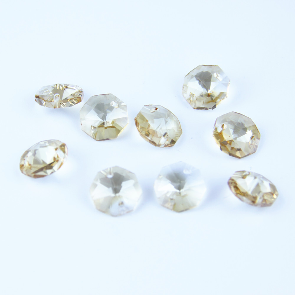 100pcs 14mm Coating Cognac Glass Crystal Octagon Beads With 2 holes Chandelier Parts Decoration Ornaments