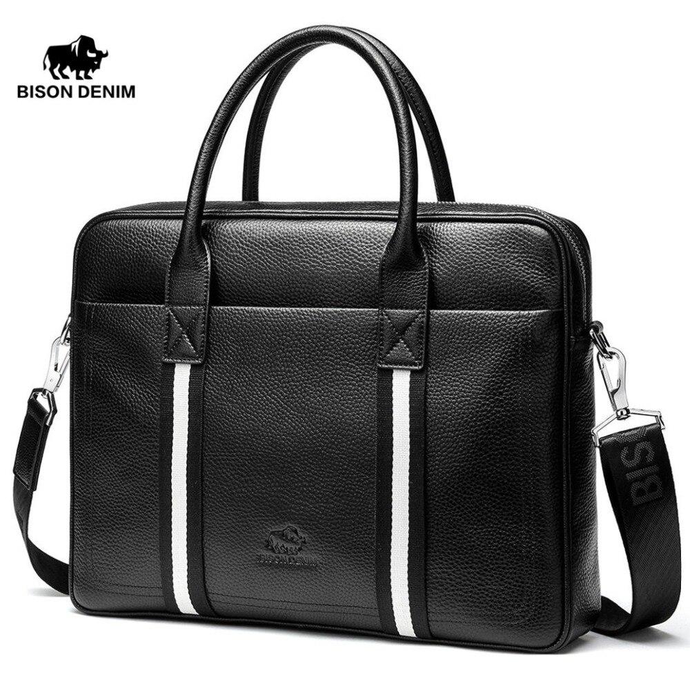 2869ef6260a2 US $71.25 43% OFF Hot BISON DENIM Genuine Leather Handbag Men Messenger Bag  Tote Men's Briefcase Laptop 14'' Shoulder bag Men's Crossbody Bag -in ...