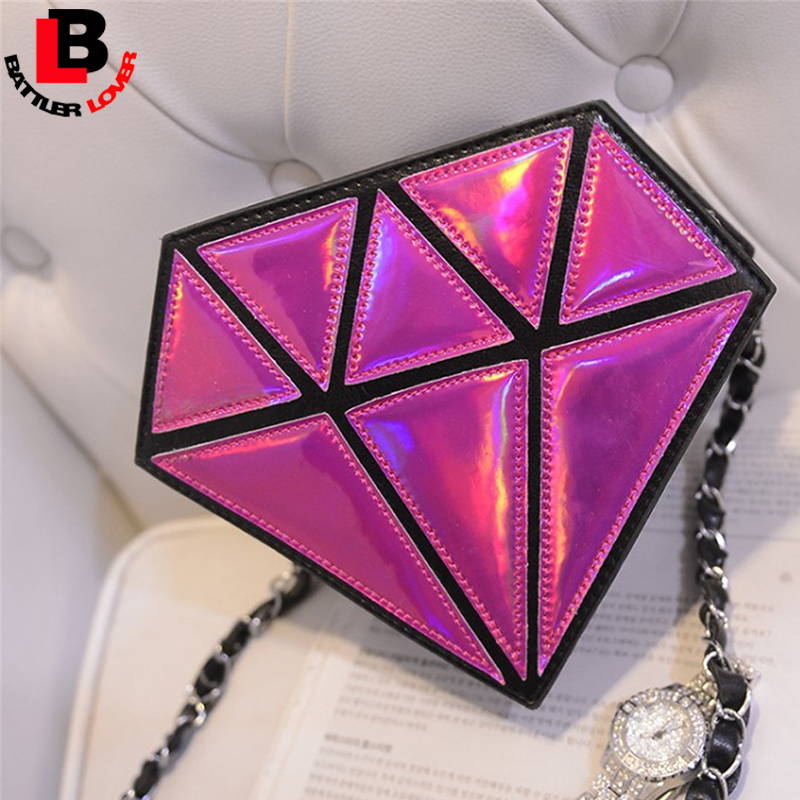 3D Diamond Shape Women Small Shoulder Bag Chain Lady Girl Kids Messenger Crossbody Satchel Patchwork Evening Bags Candy Colors 2017 hot fashion women bags 3d diamond shape shoulder chain lady girl messenger small crossbody satchel evening zipper hangbags