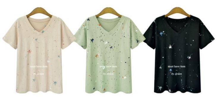 Casual Manches Tops Noir blanc Femme Femmes shirt D'impression 5xl 2018 Plus V La T kaki Taille De Courtes Mode Pcs Cou 100 À xwPZqfx