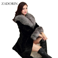 Mink FALSO Casaco De Pele Com Grande Gola De Pele de luxo Mulheres Inverno casaco Winterjas Dames Fur Gilet Jaquetas chalecos de pelo mujer S-4XL