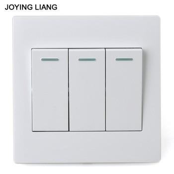 JOYING LIANG clásico blanco 86 tres bandas de un solo camino Rocker Switch PC Panel 3 bandas/1 manera enchufe de interruptor de pared eléctrico