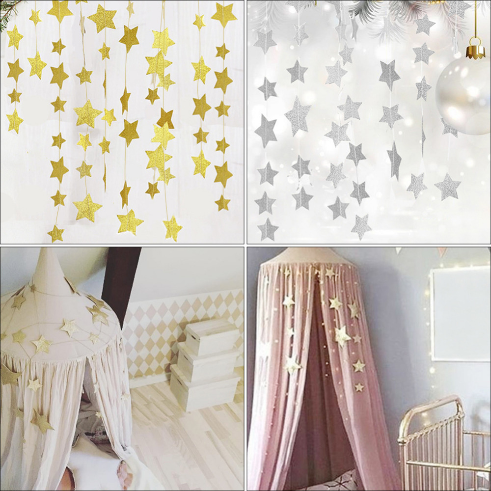 Gold Stars Hanging Decoration Garland Banner Pastel Star Garland Bunting for Weddings Party Childrens Rooms Mosquito Nets Room
