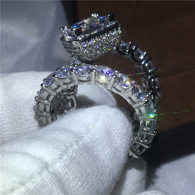 choucong Vintage ring Pave setting 5A zircon Cz 925 Sterling silver Engagement Wedding Band Rings set For Women Bridal bijoux
