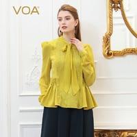 VOA вышивка шелковая блузка плюс Размеры Для женщин топы желтый с бантом из ленты Туника Базовая футболка пуловер с длинными рукавами Сладки