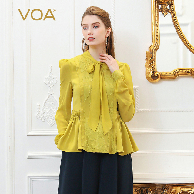 VOA Embroidery Silk Blouse Plus Size Women Tops Yellow Bow Ribbon Tunic Basic Shirt Long Sleeve Pullover Sweet Harajuku B377