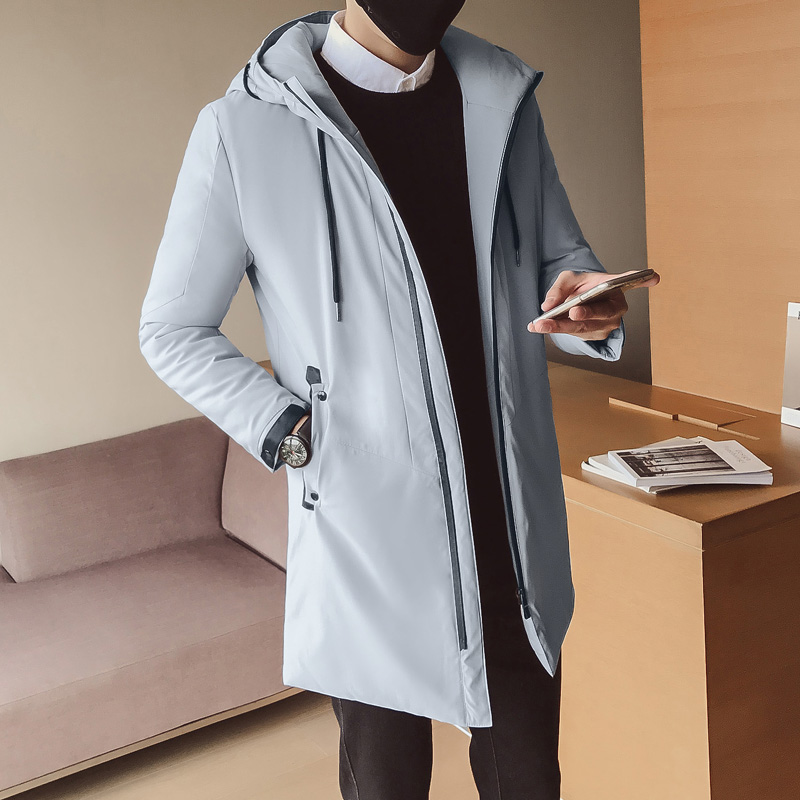New winter men's youth vitality simple fashion solid color hooded cotton coat zipper jacket