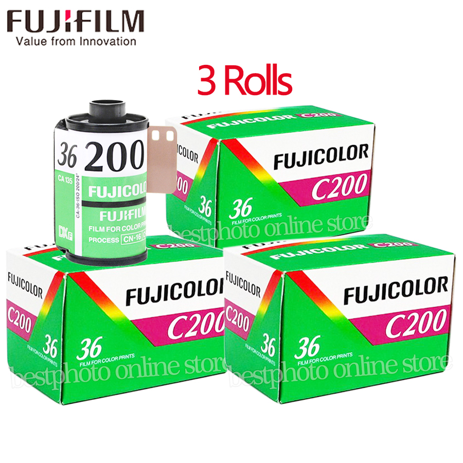 3 Roll/lot Fujifilm Fujicolor C200 Color 35mm Film 36 Exposure for 135 Format Camera Lomo Holga 135 BC Lomo Camera Dedicated