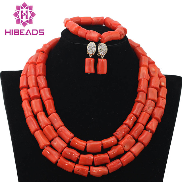 Genuine Coral Beads Necklace Jewelry Nigerian Wedding African Coral Beads Jewelry Set Coral Beads Designs Free Shipping CNR338