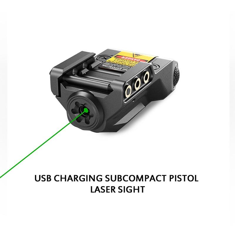 Laser vitesse livraison directe sous-compact laser usb rechargeable pointeur pour pistolet vert laser pointeur mira laser para pistola