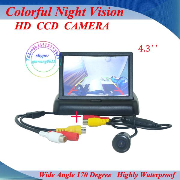 """Promoção 4.3 """" polegadas TFT LCD carro Monitor de Rear View Camera Kit invertendo câmera traseira sistema de assistência de estacionamento frete grátis"""