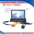 """Promoción de 4.3 """" pulgadas TFT LCD Monitor del coche cámara de visión trasera que invierte el Kit de la cámara trasera sistema de ayuda al aparcamiento envío gratis"""