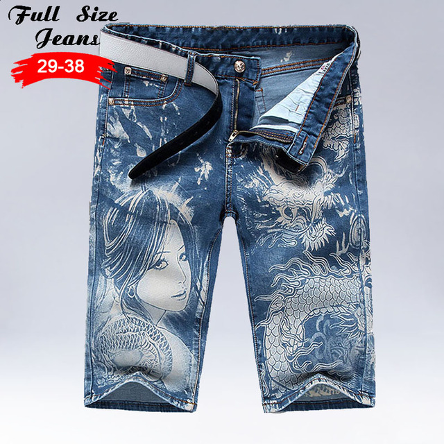 9ec62bcb64d3 Men S New Design Beauty And Dragon Print Capris Jeans Stretch Denim Knee  Length Shorts Male Bermuda