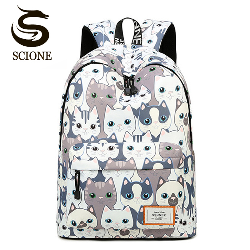 Hot Waterproof Cat Printing Backpack Women School Students Back Pack Female 14-15.6 Inch Laptop Cute Book Bag For Girls
