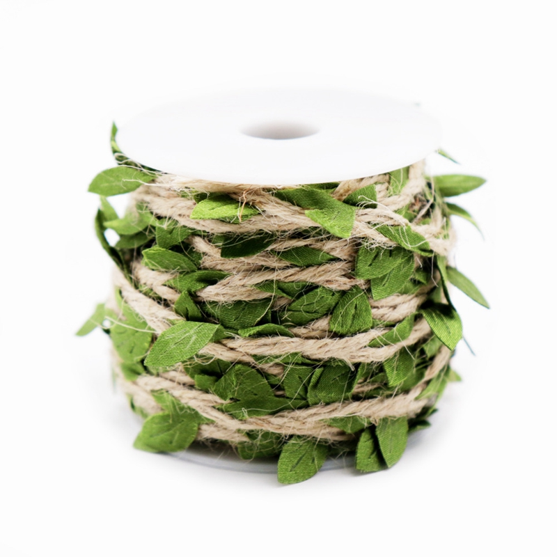 10M Simulation Green Leaves Weaving Rope Diy Wedding Birthday Wedding Decoration Rattan Gift Bouquet Packaging Rope