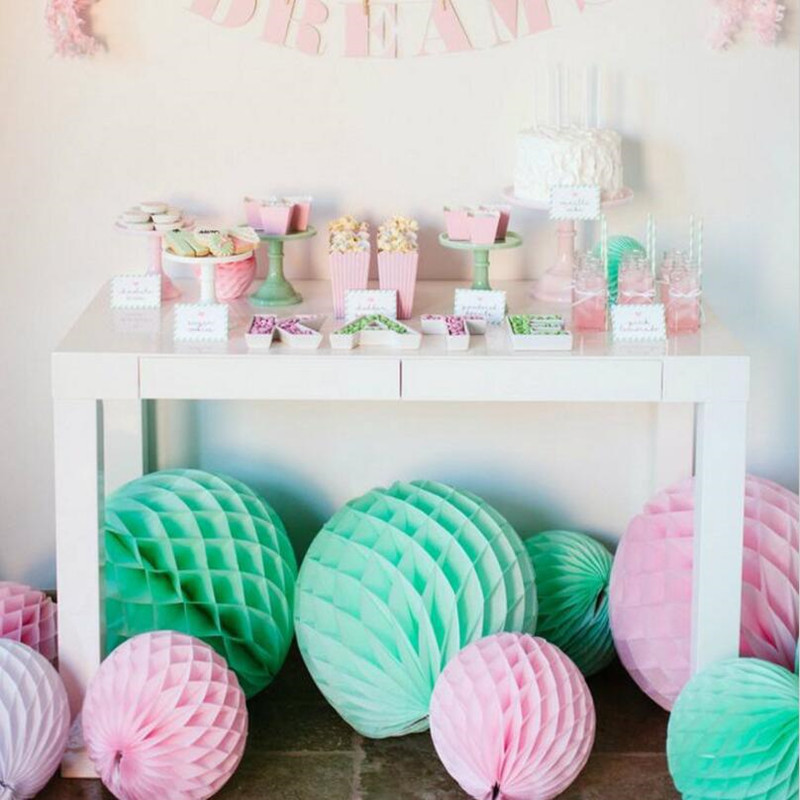 5PCS/LOT 15/20/25/30cm Mix Colors Tissue Paper Lantern Honeycomb Ball For Wedding &Birthday Party/Baby Shower Fiestas Decoration
