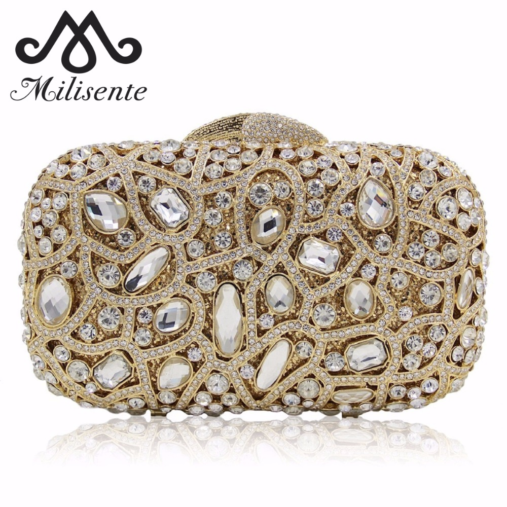 Milisente New Women Bags Hollow Out Crystal Clutch Wedding Party Purse Lady Diamonds Evening Bag Silver Black gold plating floral flower hollow out dazzling crystal women bag luxury brand clutches diamonds wedding evening clutch purse