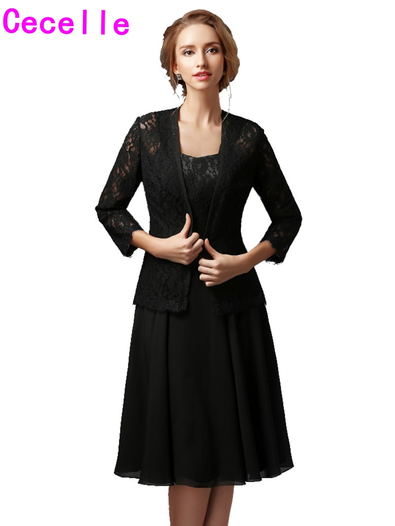Black A line Chiffon Lace Mother Of The Bride Gowns Short With ...