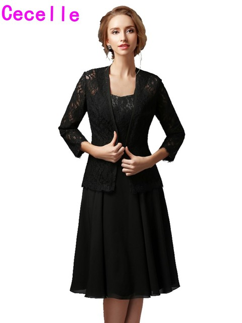 Black A Line Chiffon Lace Mother Of The Bride Gowns Short With Jackets Straps Casual