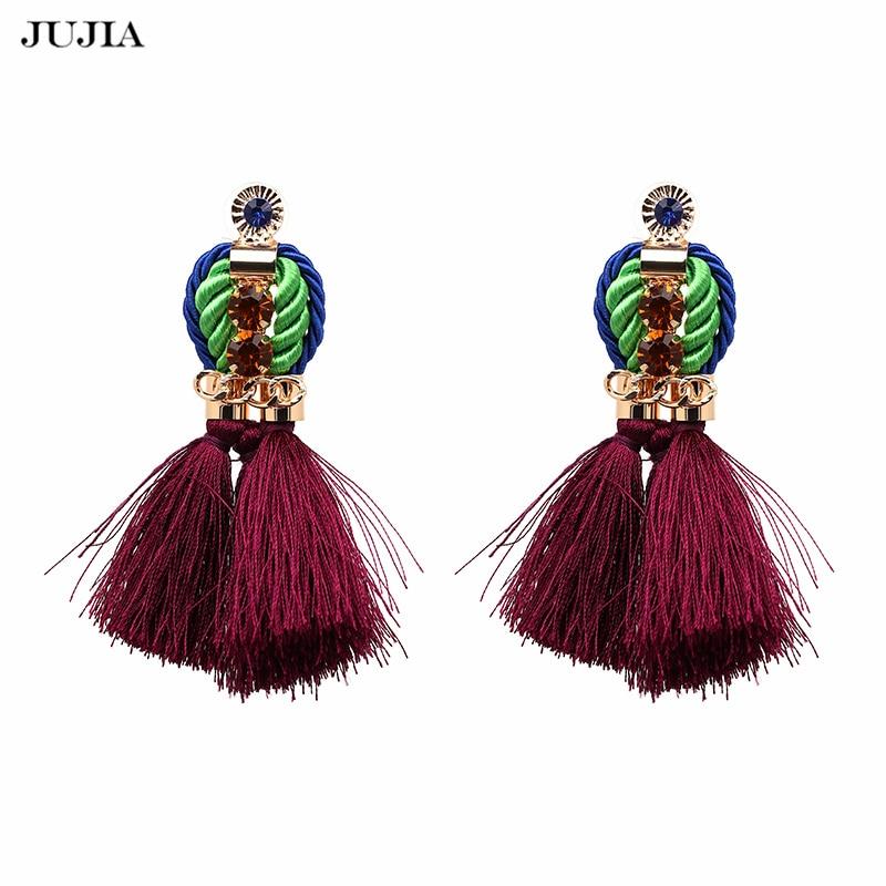 클래식 로프 술 귀걸이 여자 드롭 프링 귀걸이 보헤미아 인도 민족 보석 패션 귀걸이