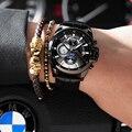 Швейцарские модные часы BINGER  мужские автоматические часы с кожаным ремешком  механические часы  2019