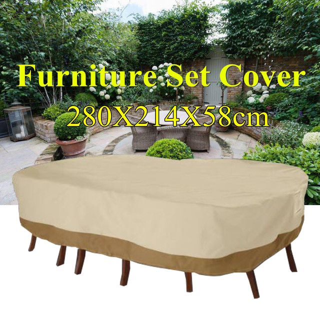 Garden Patio Furniture Set Table Cover Waterproof Outdoor Shelter  280x214x58cm Polyester Protection Cover Tablecloth Supplies