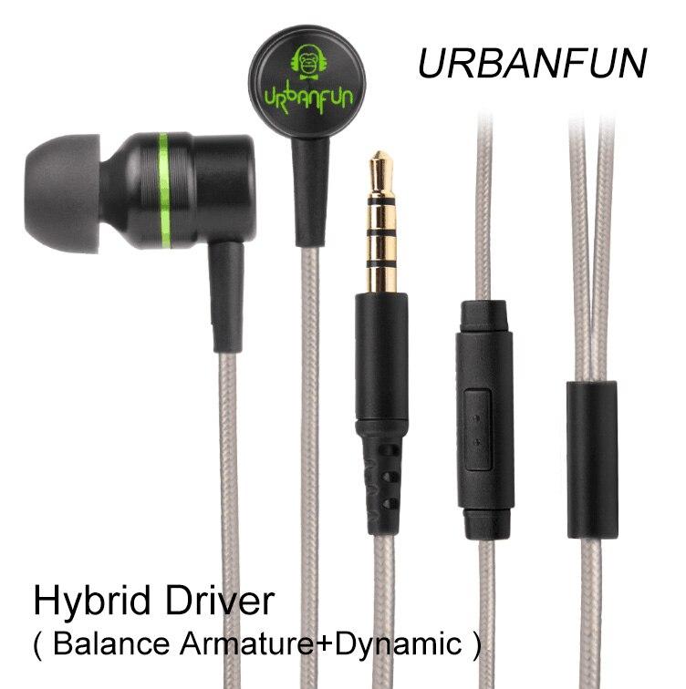 Original URBANFUN Hybrid Einheit 1BA Mit 1DD In-ohr Kopfhörer 3,5 MM HiFi Bass Noise Cancelling Headset Mit Mic Freies Verschiffen