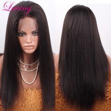Cheap Italian Coarse Yaki 7A Brazilian Virgin Remy Human Hair Kinky Straight Full Lace Wig Lace Front Wigs For Black Women
