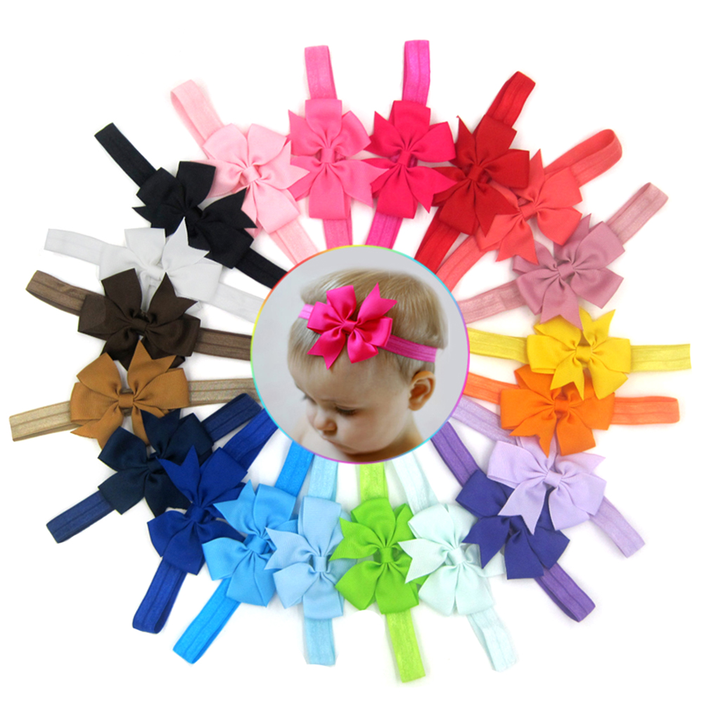 20pcs Cute Kids Hair Elastic bands Ribbon Bowknot Headband Headwear Flower Hair Band Head Accessories 7 fashion boutique grosgrain ribbon organza breast cancer printed cheer bow with elastic hair bands for cheerleading girls