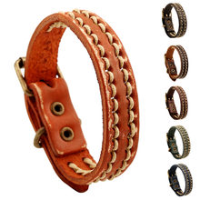 Retro Punk Genuine Leather Rope Woven Men woman Bracelets & Bangles Pin buckle cool Male Wristband Jewelry Boyfriend Gift(China)